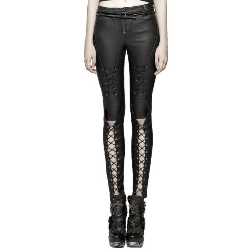 Punk Pressure Adhesive Faux Leather Women Trousers