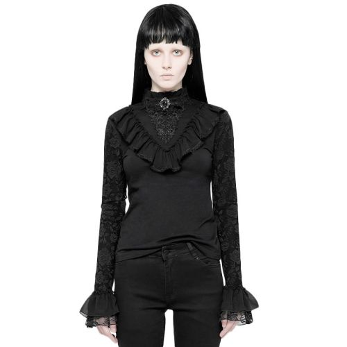 Lolita Stand Collar women's Lace T-Shirts