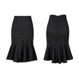 Drawstring fishtail military uniform skirt kilt