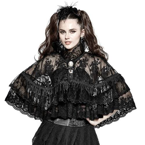Lolita lace double layer women's black cloak