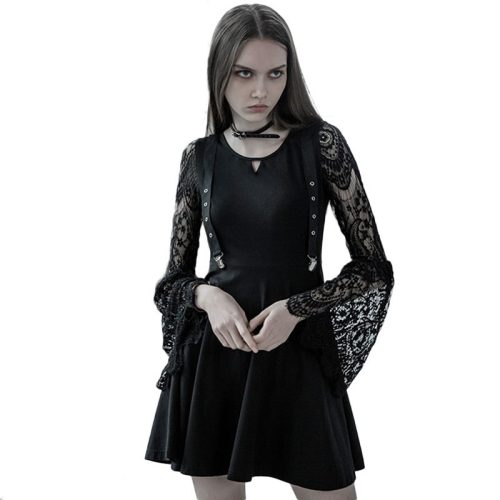 Gothic Lace V-neck strap waist women's dress