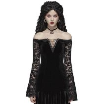 Gothic Velvet v-neck Women's Lace Dress