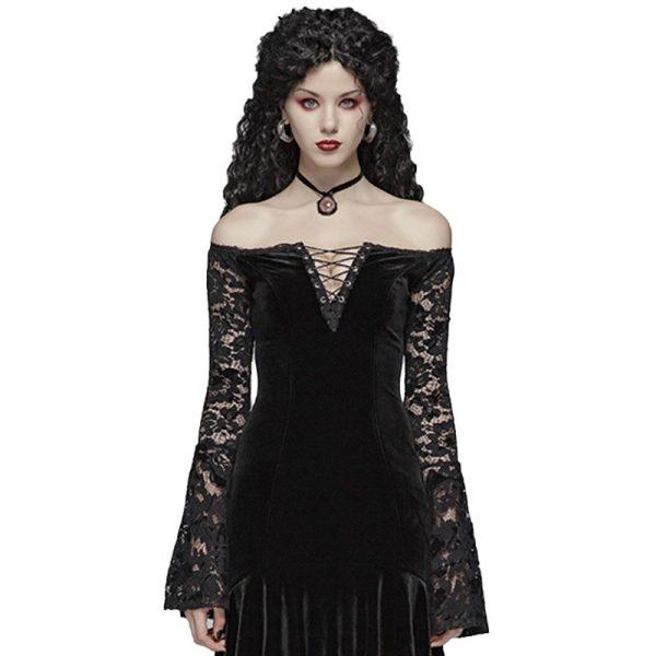 Gothic Velvet v-neck Women's Lace Dress