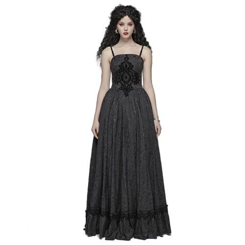 Gothic Tube Jacquard Women's Black long dress