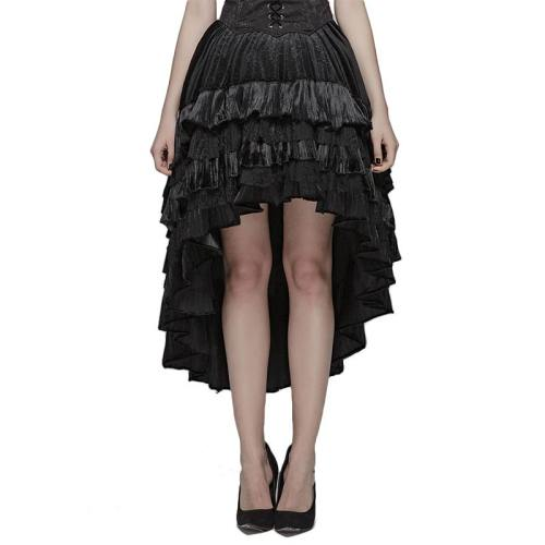 Gothic Dark Grain Velvet lotus leaf women's Half Skirt