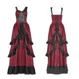 Steam punk Signature Cotton and PU women's Long Dress