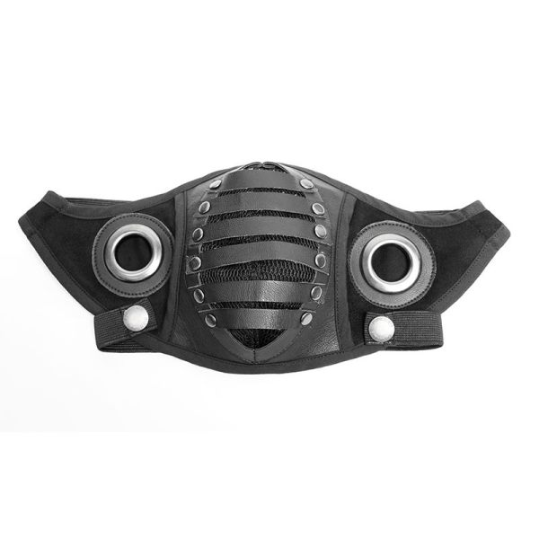 Punk PU leather Men's Mask black