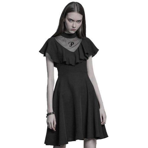 Gothic High collar printed lotus leaf waist sexy dress