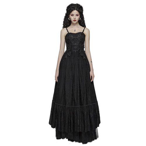 Gothic Long Lace Dress Women's