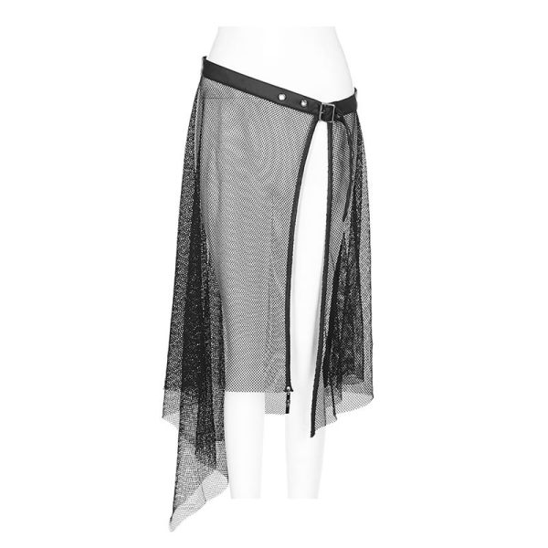 Gothic leather mesh perspective belt