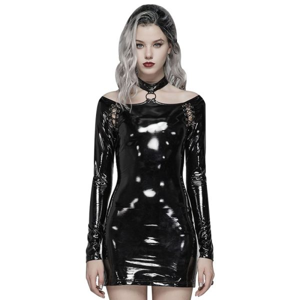 Punk bright PU Over Hip Women's Dress