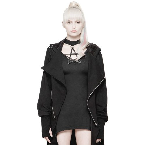 Goth Dark Iron Ring Decorative Irregular Women's Coat
