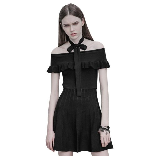Gothic off-the-shoulder ruffled women's dress