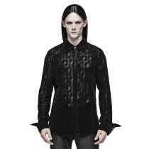 Gothic Lace Flocking Angled cuff Men's Shirt