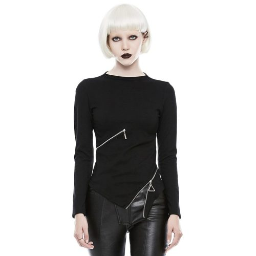 Gothic Slim Small Collar Zipper Women's T-shirt
