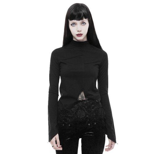 Goth lace irregular hollow long sleeve Women's T-shirt
