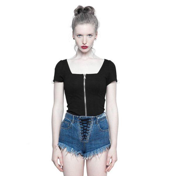 Punk square collar knit women's short T-shirt