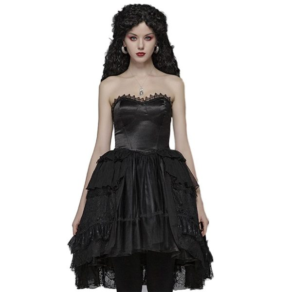 Lolita Asymmetrical lace tube top dress