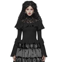 Lolita lace high collar flared sleeve women's T-shirt