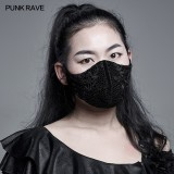 Punk Rave WS-441KZ Designer Fashion Accessories Goth Luxuriant Mesh Knitted Lace Stitching Breathable Unisex Mask