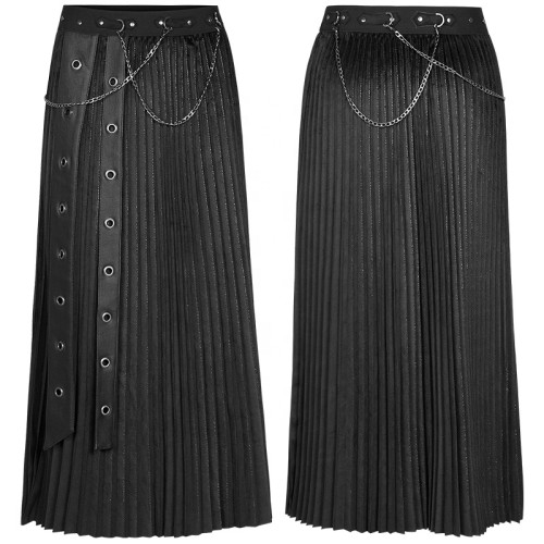 Punk Rave woman autumn winter ankle long removable metal chains elastic waist band velvet pleated black skirt WQ-529BQF