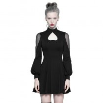 Gothic High Collar Inverted Peach Heart Mosaic Women's Dress