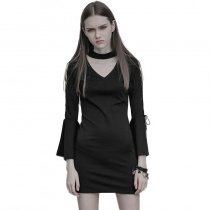 Gothic V Collar Roping Flare Sleeve Tight Hip  Women's Dress