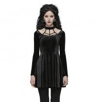 Gothic Daily elastic Velvet Women's Simple Dress black