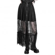 Gothic Zipper Lace Women's Half Skirt Black
