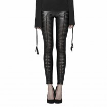 Gothic Devil Footprints Women's Leggings Black/Red