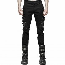 Punk Slim fit Men's Trousers Black