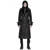 Punk Pattern Men's Long  Vest Black/Coffee