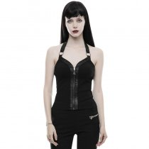 Punk knitted PU leather women's vest