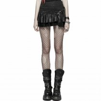 Punk PU and cotton Women's Mini skirt