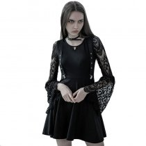 Gothic Lace V-neck strap waist women's dress