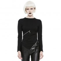 Gothic Slim Small Collar Zipper Women's T-shirt