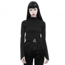 Goth lace irregular hollow long sleeve Women's T-shirt