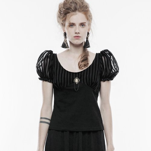 Gothic Women's  lace fabric T-shirt