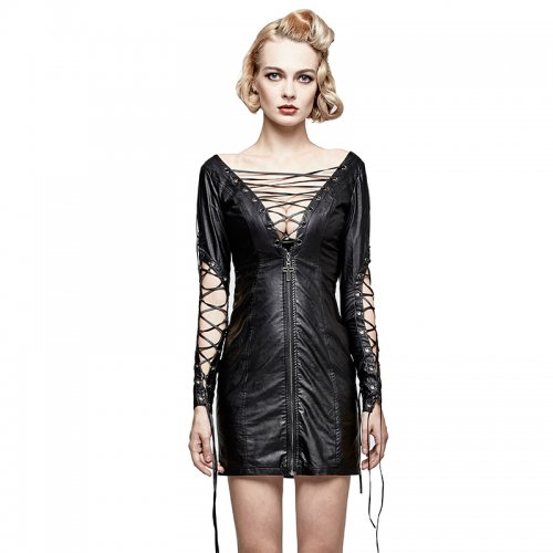 Punk hollow out deep V Women's dress