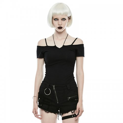 GOTH Off the Shoulder Tie Rope Necklace Slim Women's T-shirt
