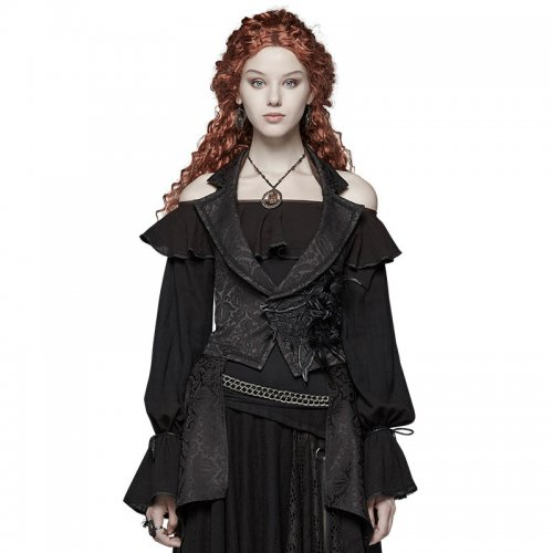 Gothic Dark pattern jacquard Detachable Women's Vest