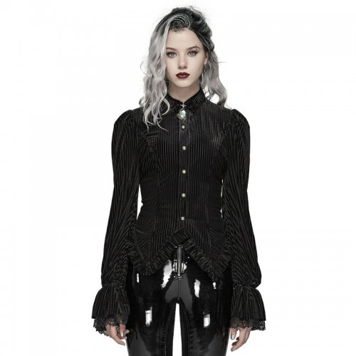Gothic Dark-Grain Velvet Shirt