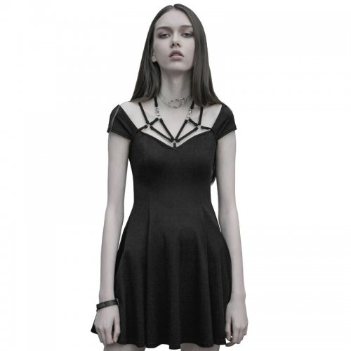 Punk Sexy V collar Tight Strap Women's Dress Black