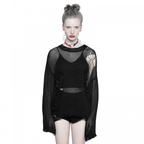 Punk Tattered Mesh Hole Loose Women's Sweater