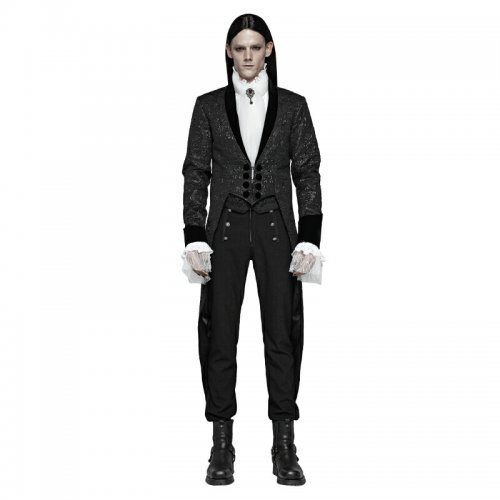 Gothic Medium Length Jacquard Men's Jacket