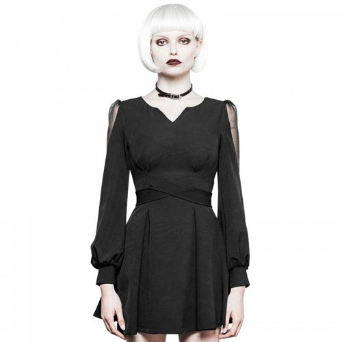 Gothic Ultra-high belt V-collar Women's Dress