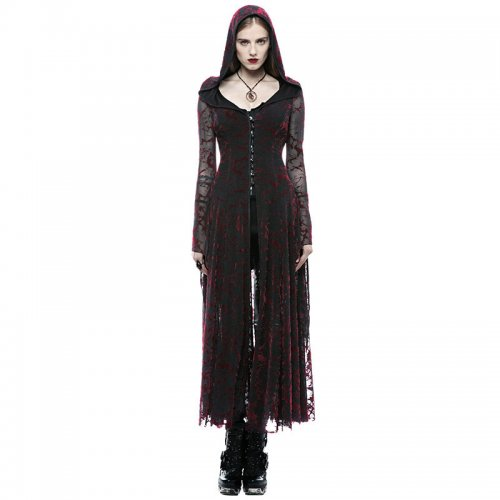 Gothic flame women's long coat