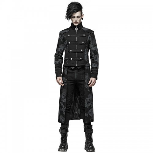 Punk Dragon Totem Detachable Men's Coat