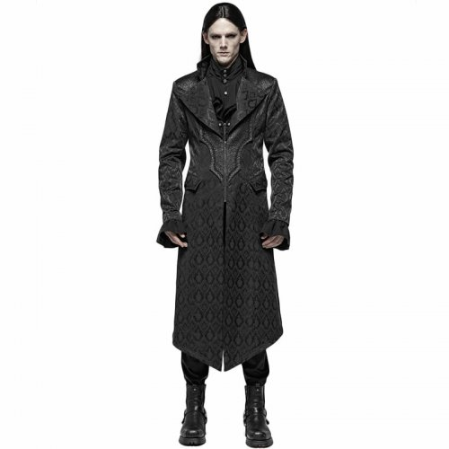 Gothic jacquard Mid-length Men's Coat black