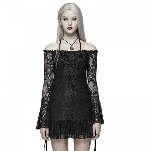 Gothic Boat Neck Lace Mini T-Shirt
